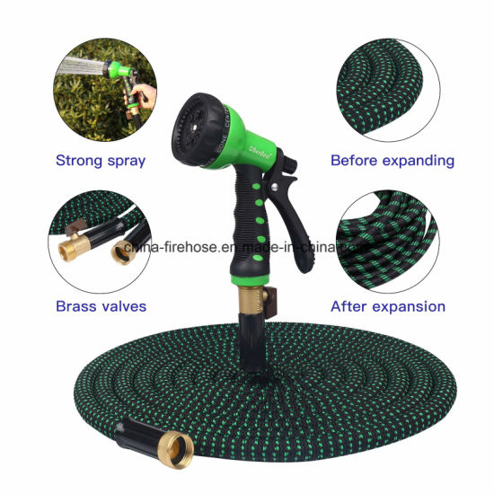 50′ Expandable Hose. Water Hose, 8 Set Spray, Hanger. Garden Hose with 3 Layer Latex Inner Tube, Solid Brass Connectors,Strongest Expanding Hose on The Market F pictures & photos