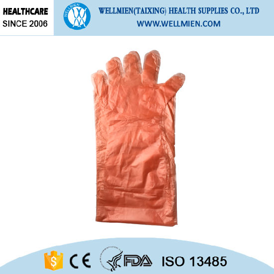 Long Sleeve Disposable Plastic Glove for Slaughtering Use pictures & photos