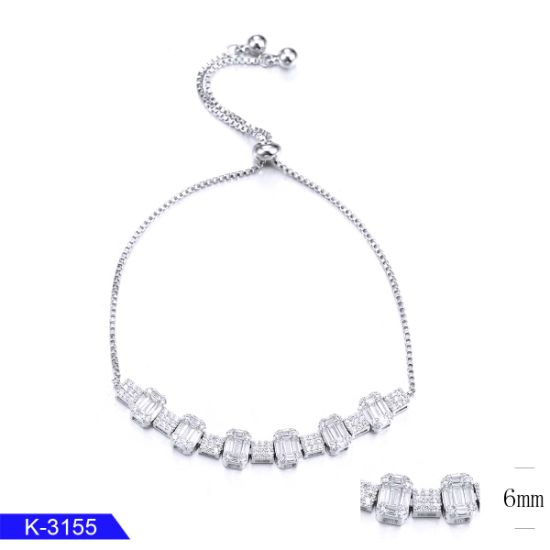 925 Sterling Silver Pave CZ Stone Bracelet for Women pictures & photos