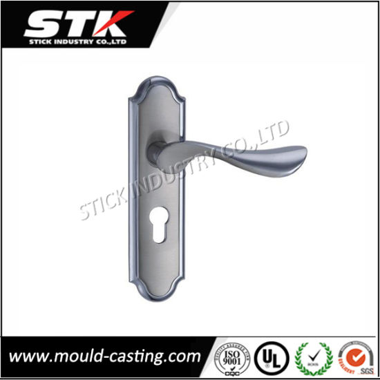 Zinc Handle on Door Plate (Deburing, Chrome Plated) pictures & photos