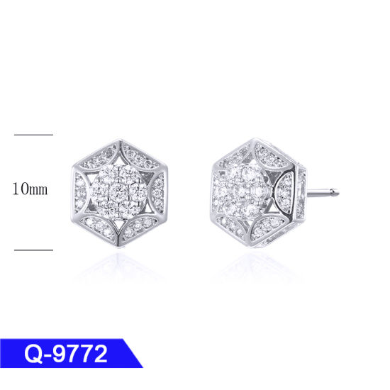 Hip Hop Fashion Jewelry Silver or Brass Pave Diamond Stud Earrings for Men pictures & photos