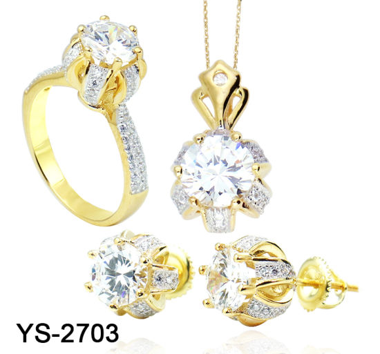 New Fashion Bridal Jewellery 14 K Gold Plated 925 Sterling Silver Flower Set for Sale pictures & photos
