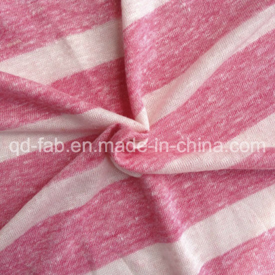 Linen/Poly Knitting Yarn Dyed T-Shirt Jersey (QF13-0457) pictures & photos