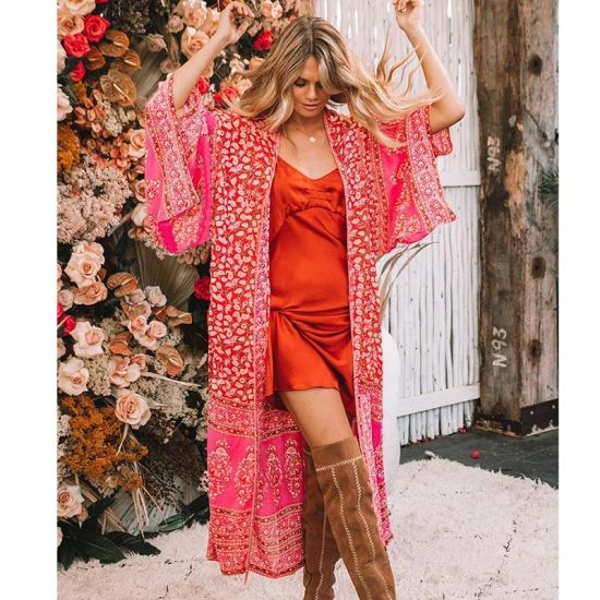 Flower Chiffon Loose Beach Cardigan pictures & photos