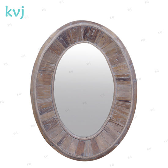 Kvj-7648 Rustic Antique Vintage Decorative Oval Reclaimed Wood Mirror pictures & photos