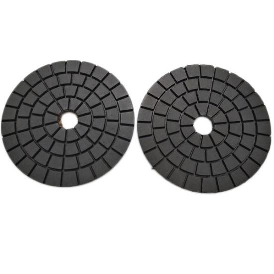 100mm Stone Velcro Black Diamond Resin Wet Buff Polishing Pads pictures & photos