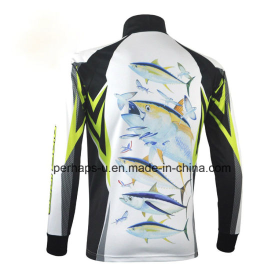 Quick-Drying Sublimation Printing Fishing Jersey with Zipper Placket pictures & photos