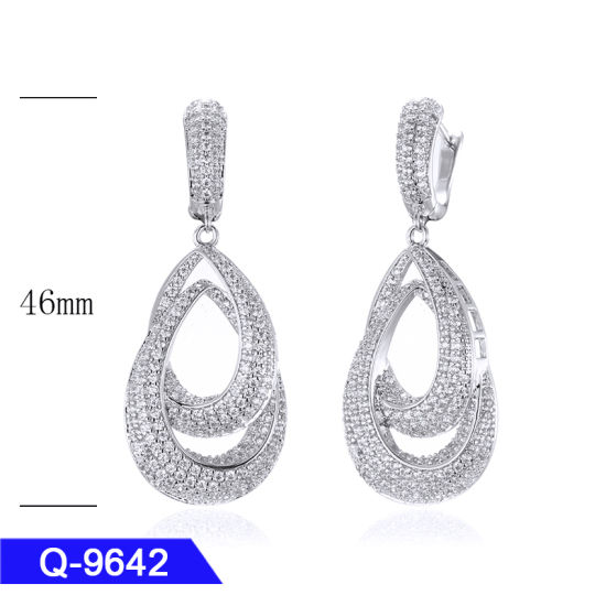 New Design Sterling Silver or Brass Jewelry Long CZ Earrings for Girls pictures & photos