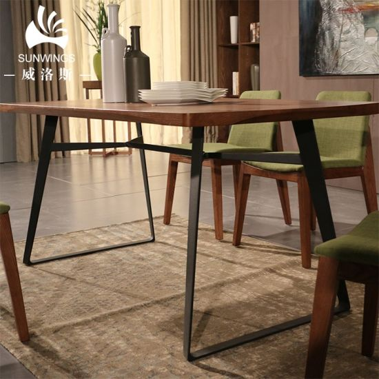 Modern Solid Wood Dining Table in Metal Frame pictures & photos