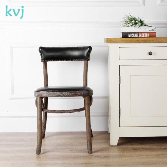 Kvj-7070s Antique Industrial Wooden America Oak Vinyl Seat Dining Chair pictures & photos