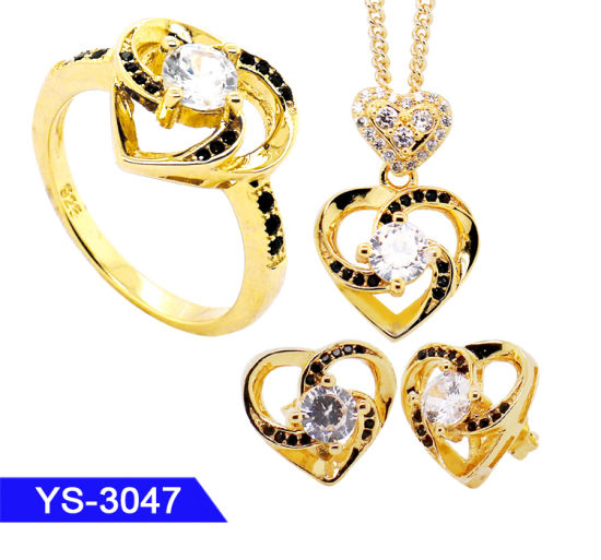 Factory Wholesale 14K Gold Plated 925 Sterling Silver CZ Heart Jewelry Set for Girls pictures & photos