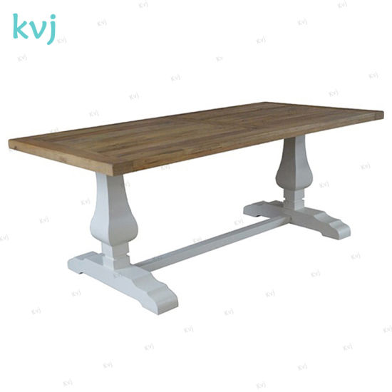 Kvj-7210 Antique Vintage Reclaimed Solid Wood Rectangle Dining Table with White Legs pictures & photos