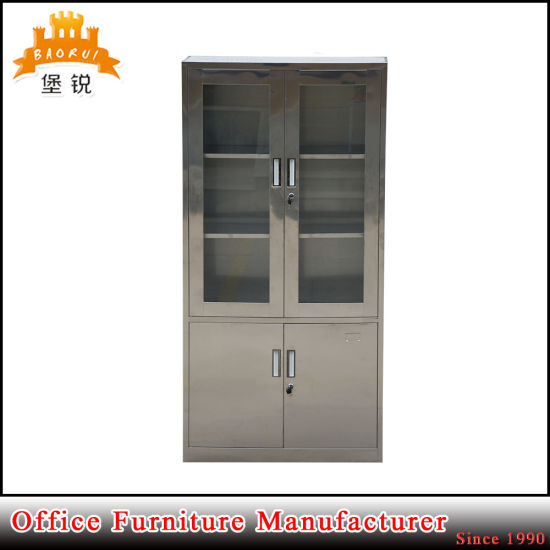 Stainless Steel Glass Door Metal Cupboard Medical Storage Cabinet pictures & photos