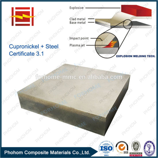90 Degree Copper Nickel Steel SA516gr70 Clad Plate Used for Tubesheet pictures & photos