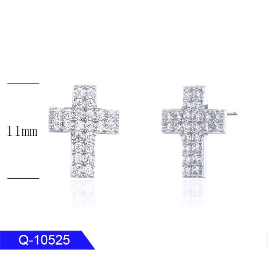 Fashion Jewelry 925 Sterling Silver Cubic Zirconia Cross Earrings for Sale pictures & photos