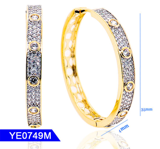 New Design Handmake Jewellery Sterling Silver or Copper Jewelry Cubic Zirconia Long Large Hoop Earrings for Women pictures & photos