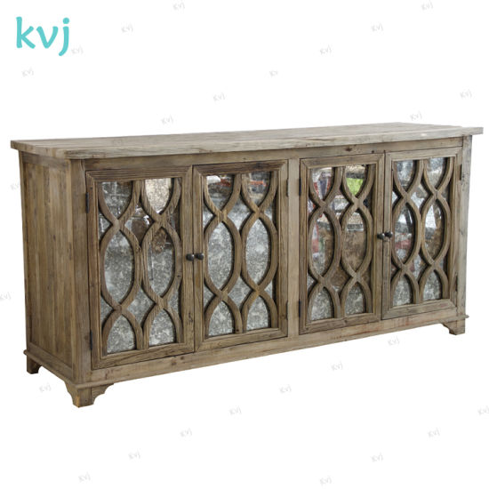Kvj-7306 French Rustic Vintage Storage Cabinet with Antique Glass Doors pictures & photos