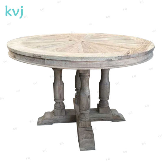 Kvj-7245 Vintage French Colonial Reclaimed Wood Elm Round Table pictures & photos