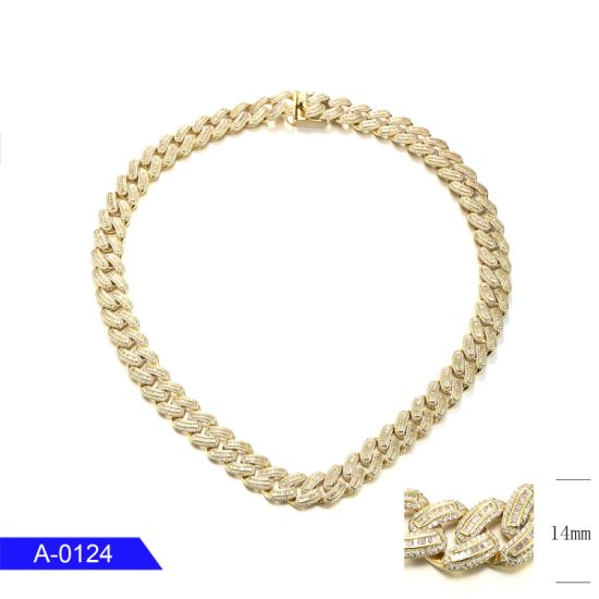 Wholesale Fashion Jewelry 925 Sterling Silver 14K Gold Plated CZ Long Hip Hop Chain for Men pictures & photos