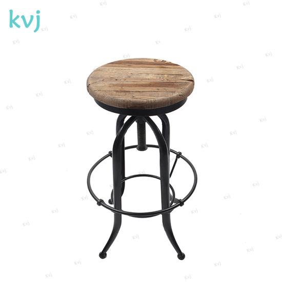 Kvj-7644 Industrial Reclaimed Wood Seat Antique Adjustable Bar Stool pictures & photos