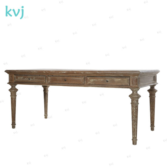 Kvj-7259-1 Antique Vintage Reclaimed Wood Rectangle Dining Table with Drawers pictures & photos