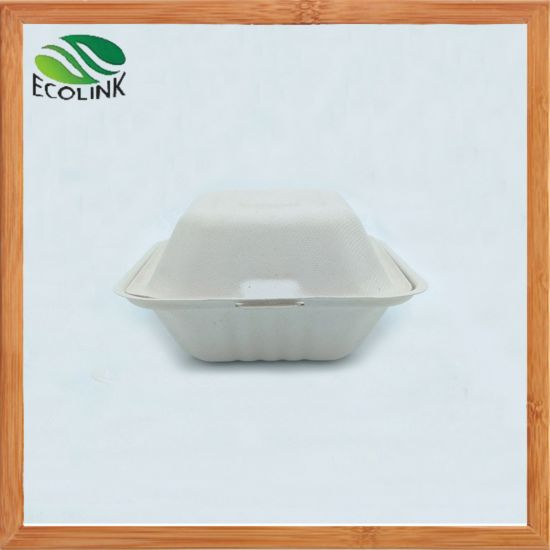 6 Inch Biodegradable & Compostable Burger Box Bamboo Pulp pictures & photos