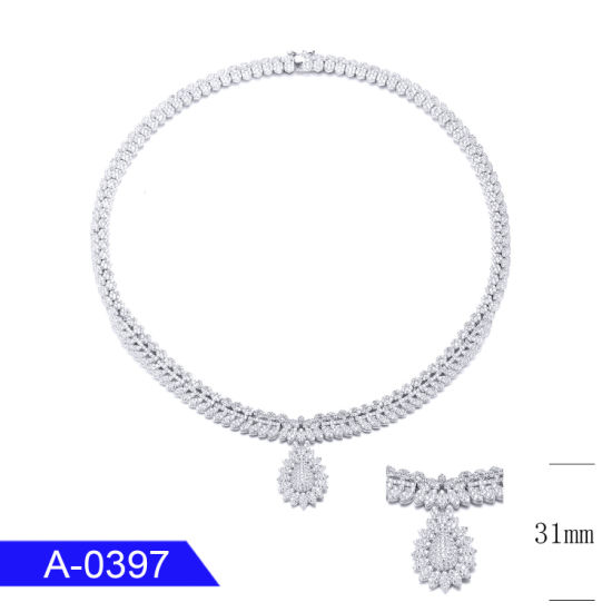 New Model 925 Sterling Silver or Brass Fashion Jewelry CZ Chain Necklace for Wedding pictures & photos