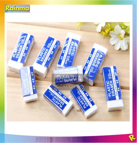 Cheap Soft PVC School White Rubber Clear Eraser with Customized Colored Paper pictures & photos