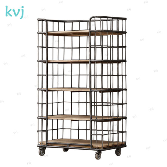 Kvj-7455 Industrial Reclaimed Wood Rustic Movable Cupboard Shelf pictures & photos