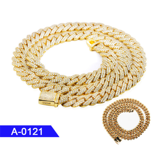 Wholesale 925 Sterling Silver or Brass Jewelry Gold Plated Cuban CZ Chain Necklace for Men pictures & photos