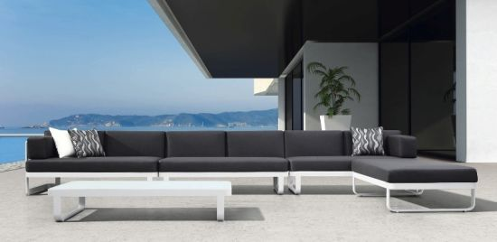 Lounge sofa outdoor  China Aluminum Selectional Lounge Sofa Set Patio Metal Outdoor ...