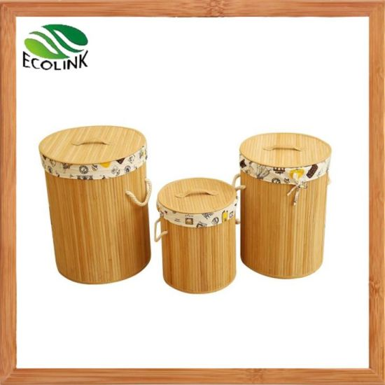 Bamboo Laundry Bin Round Cloth Basket Storage Organizer with Bamboo Lid pictures & photos