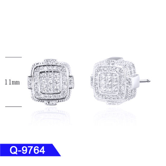 Hip Hop Silver or Brass Jewelry Pave Diamond Earrings for Men pictures & photos