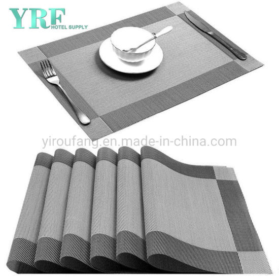 Banquet Rectangular Vinyl Washable Stain Resistant Silver Grey Placemats pictures & photos