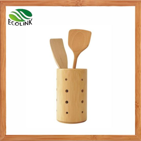 Natural Bamboo Utensil Holder Kitchen Tools Organizer pictures & photos