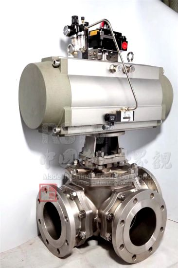 Cast Stainless Steel Flange Pnematic 3 Three Way Ball Valve pictures & photos