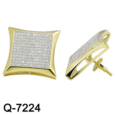 14K Yellow Gold Plated 925 Sterling Silver Hip Hop Jewelry Pave Diamond Stud Earrings for Men pictures & photos
