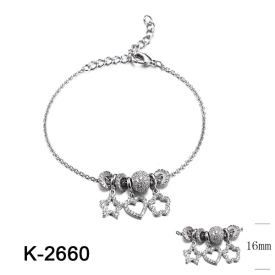 925 Sterling Silver Jewelry CZ Stone Charm Bracelet for Kids pictures & photos