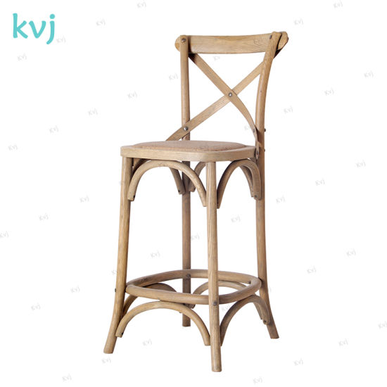 Kvj-7003 Vintage Rustic Wooden Crossback Bar Stool pictures & photos