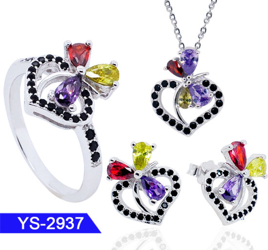 925 Sterling Silver or Brass Multicolor CZ Jewelry Set for Wedding pictures & photos