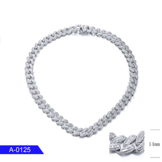 Wholesale Fashion Jewelry 925 Sterling Silver CZ Long Chain for Men pictures & photos