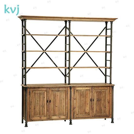 Kvj-7448 Rustic Industrial Storage Wooden Steel Bookcase Shelf pictures & photos