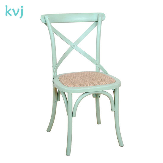 Rch-4001-4 Green Rattan Seat French Style Crossback Chair pictures & photos