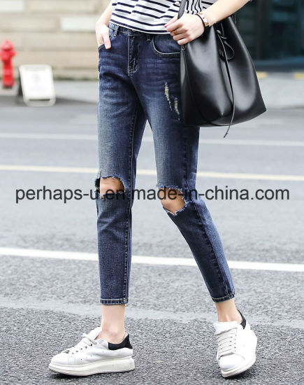 Women Clothes High Quality Blue Ripped Jeans Denim Trousers pictures & photos