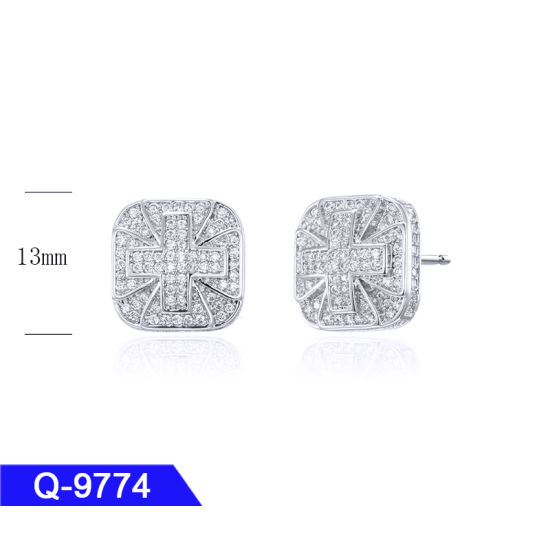 Wholesale Hip Hop Jewelry 925 Sterling Silver or Brass Pave Diamond Stud Earrings for Men pictures & photos