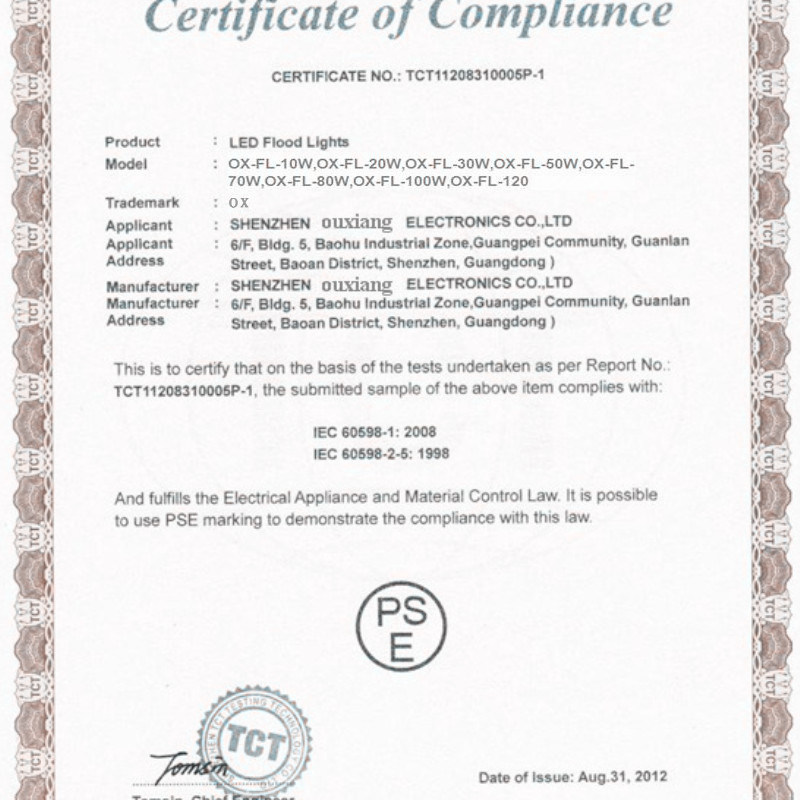 PSE certification for LED Flood Lights