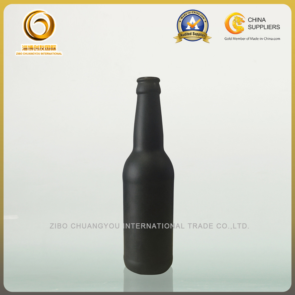 Matte black 330ml glass beer bottles