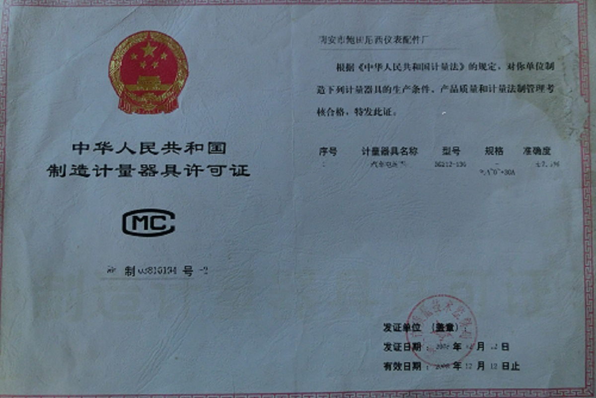 MC License for manufacturing measuring instruments