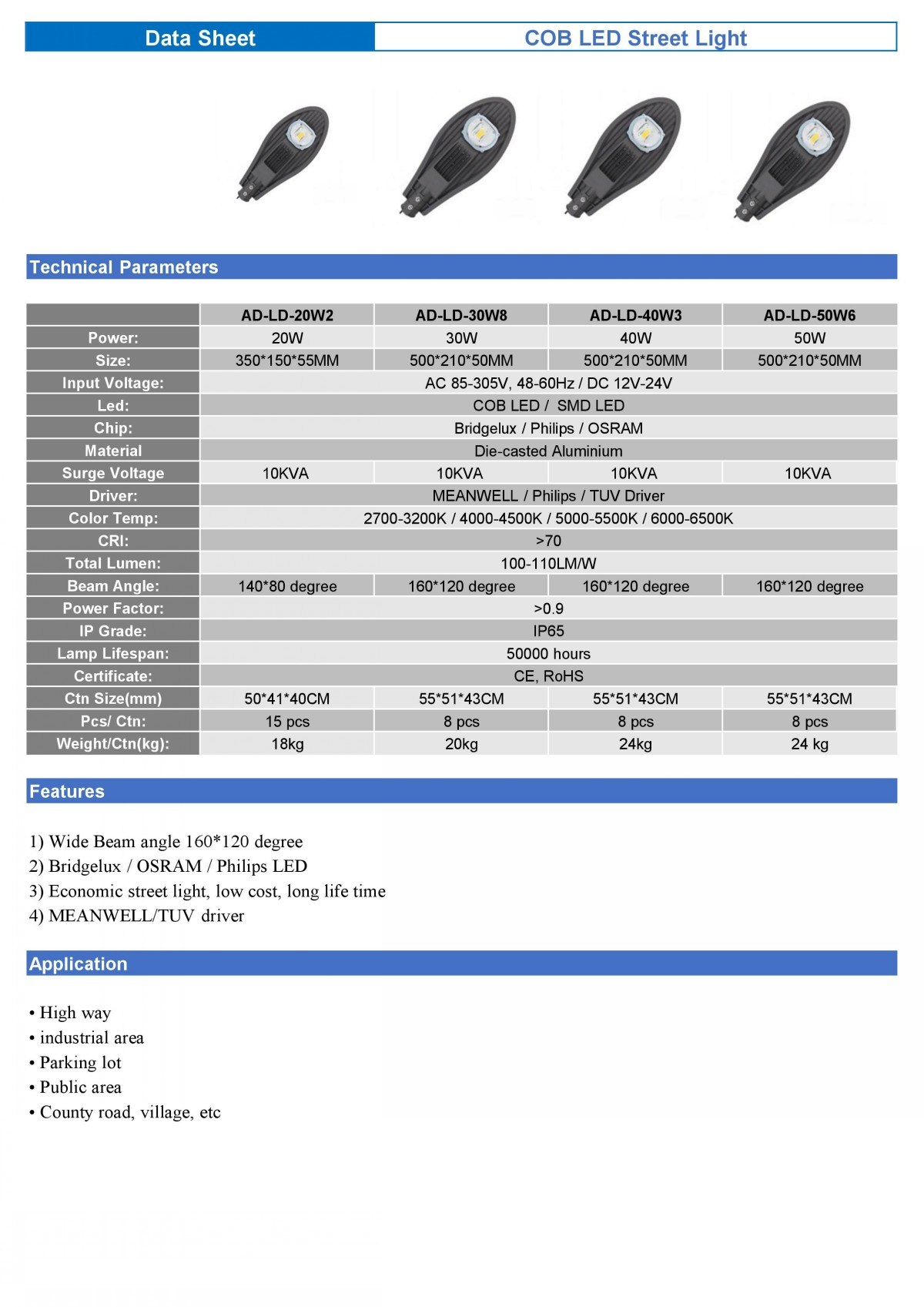led street light COB 20-200W Data sheet (1)