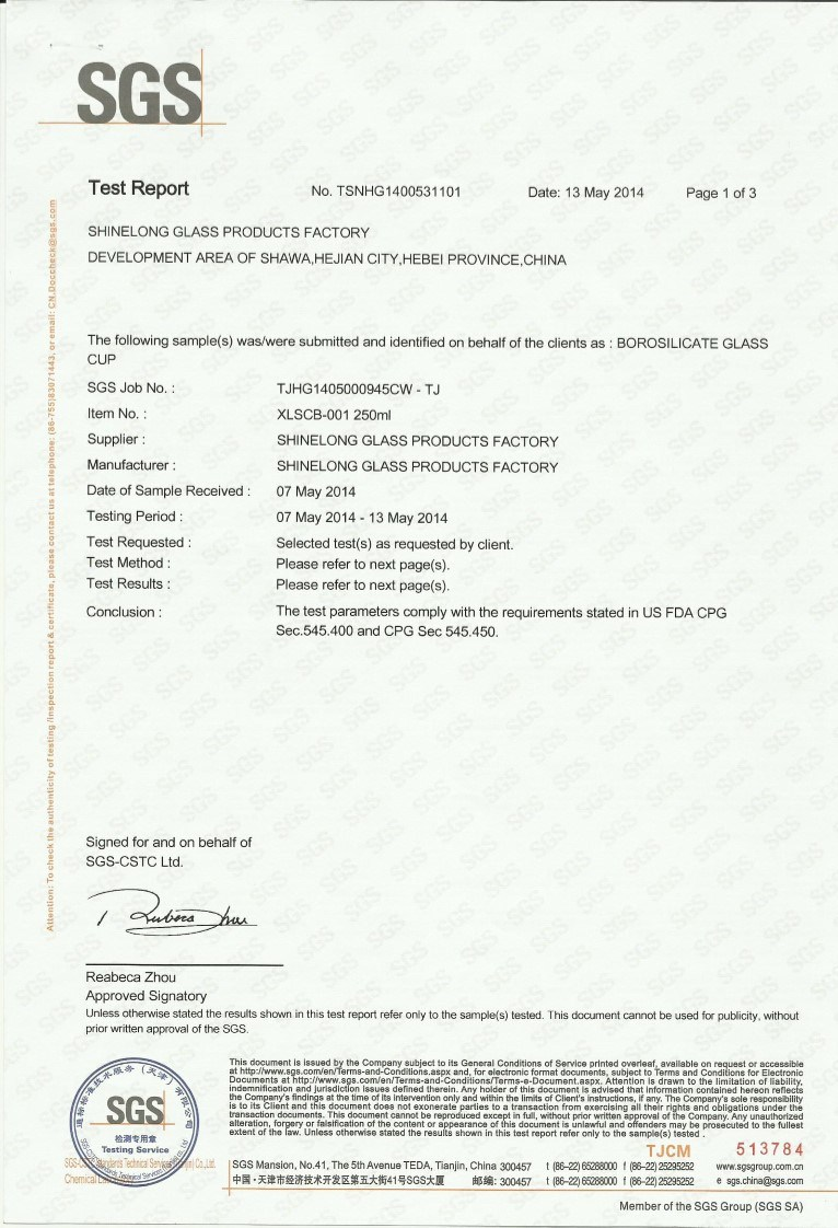 Glass cup inspection certificate issued by SGS